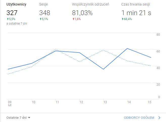 Wynik statystyg Google Analytic